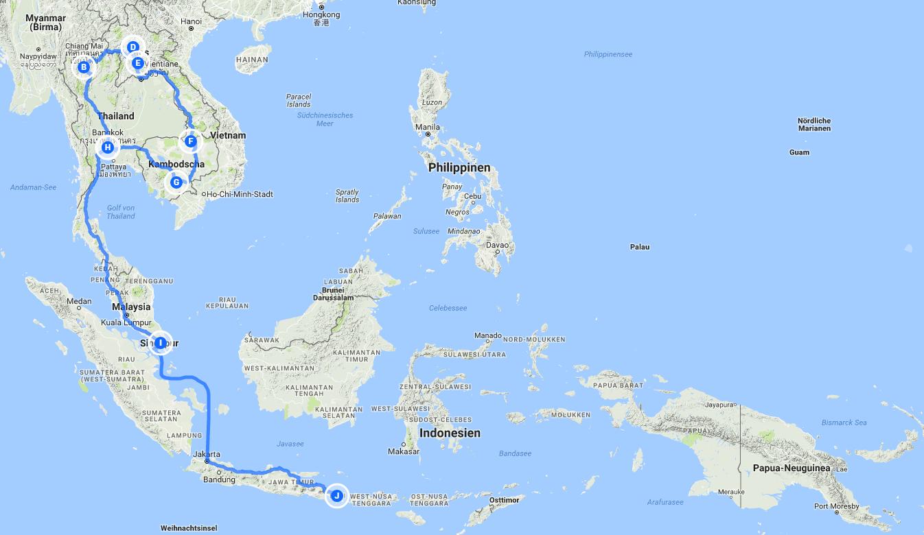 Reiseroute Thailand bis Indonesien