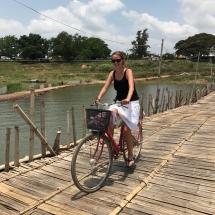 Radtour über die Bambusbrücke in Kampong Cham