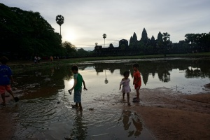 Locals in front of Angkor Wat